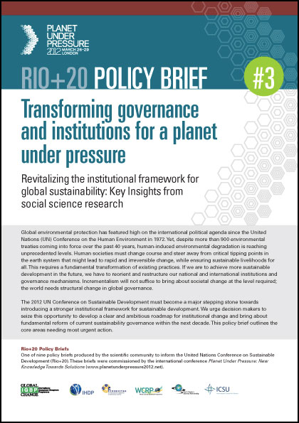 policy brief example template - policy briefs for rio 20 summit igbp
